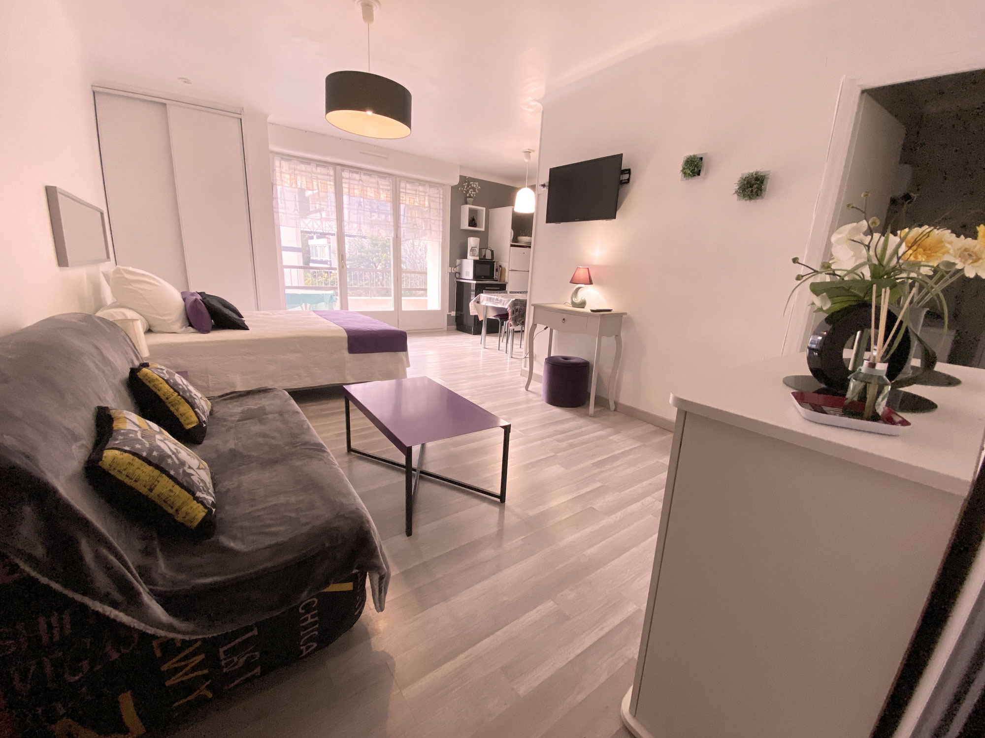 Canapé , table basse, TV , Lit , Porte fenêtre