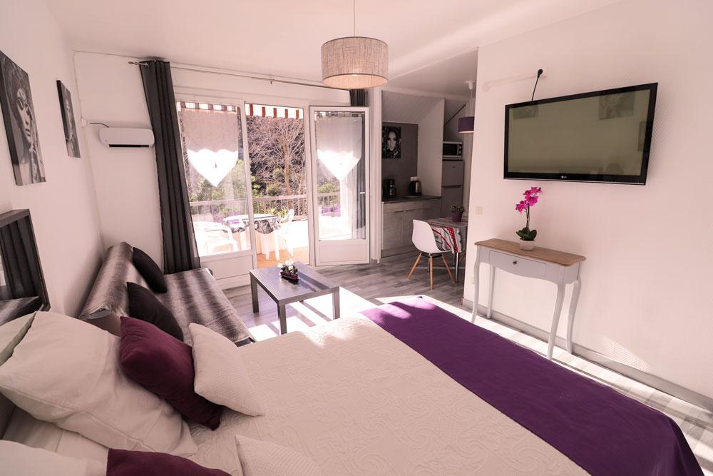 Lit , canapé , table basse , TV , porte-fenêtre (accès balcon)