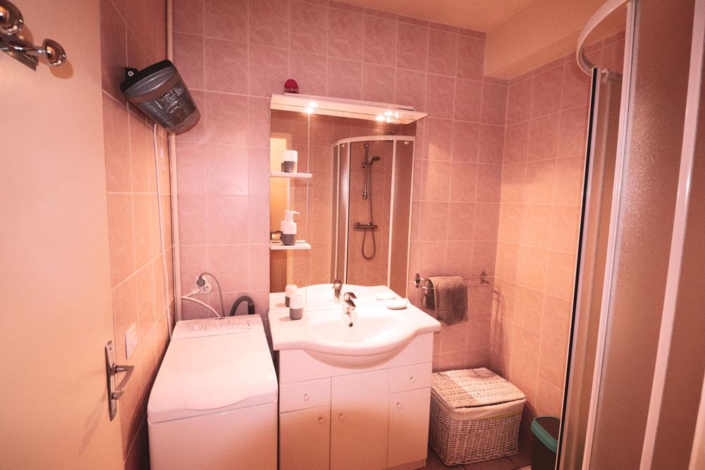 Salle de bain , douche , lavabo , machine à laver