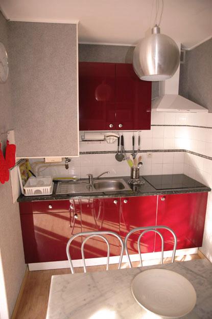 Eviers , plaques induction , meubles rouges