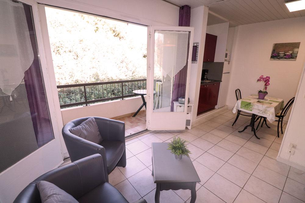 Table basse , fauteuil , porte fenêtre (vu sur le balcon)
