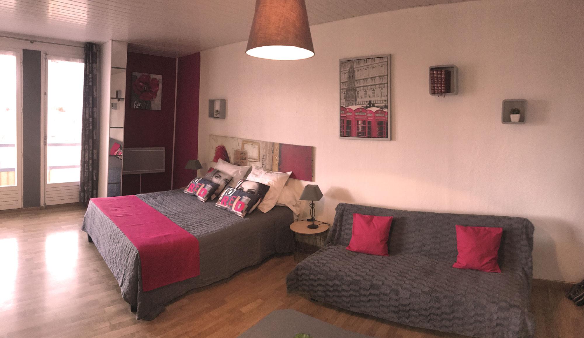 vue sur chambre et salon, lit canapé gris et rose