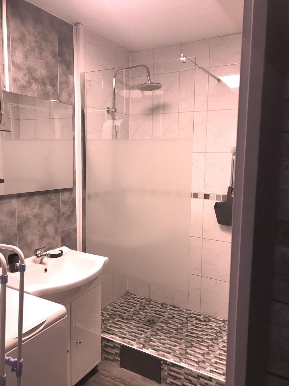vue sur salle de bain grise avec douche , lavabo et Machine à laver